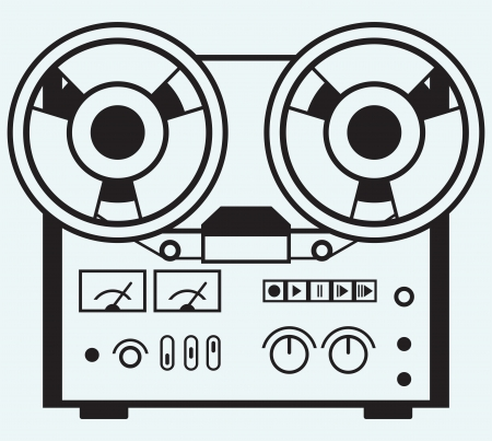 permit: Reel tape recorder isolated on blue background