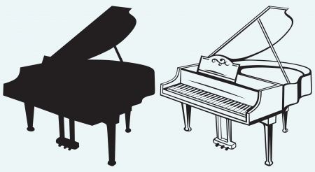 piano de cola: Piano magnífico aislado sobre fondo azul Vectores