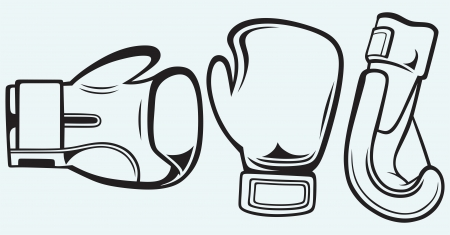 blue gloves: Pair boxing gloves isolated on blue background Illustration