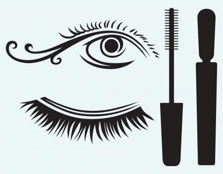 permit: Ink for eyelashes and eye isolated on blue background