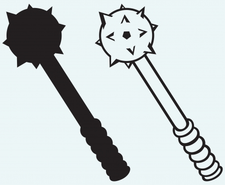 mace: Iron mace isolated on blue background