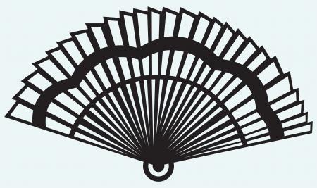 black fan: Folding fan isolated on blue background Illustration