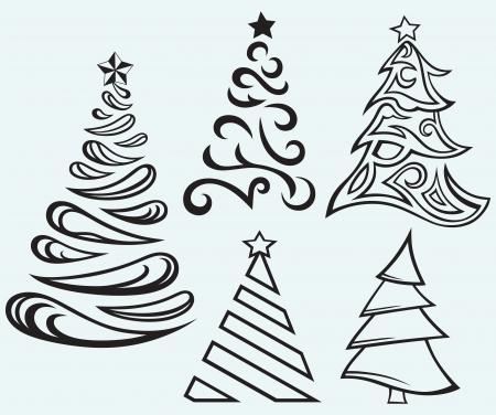 abetos: Colecci�n de Navidad de pieles de �rboles aislados sobre fondo azul