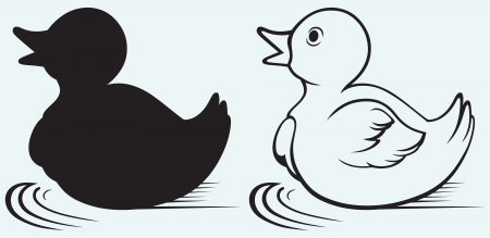 rubber duck: Silhouette duckling isolated on blue background Illustration