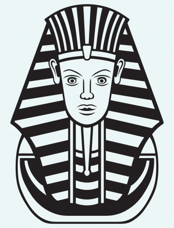 pharaoh: Portrait of Pharaoh isolated on blue background Illustration