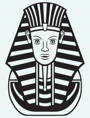 tutankhamen: Portrait of Pharaoh isolated on blue background Illustration