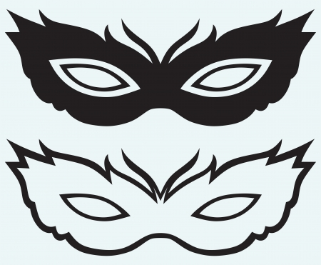 mascaras de carnaval: Máscaras en trajes de disfraces aisladas sobre fondo azul