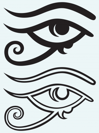 egyptian: All seeing eye isolated on blue background
