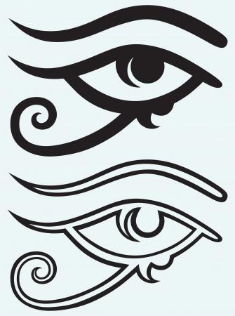 occhio di horus: Occhio che tutto vede isolato su sfondo blu