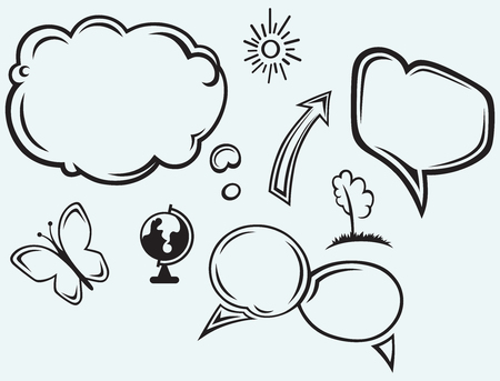 Speech bubbles isolated on blue background Vector