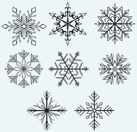 xmas linework: Snowflake winter isolated on blue background