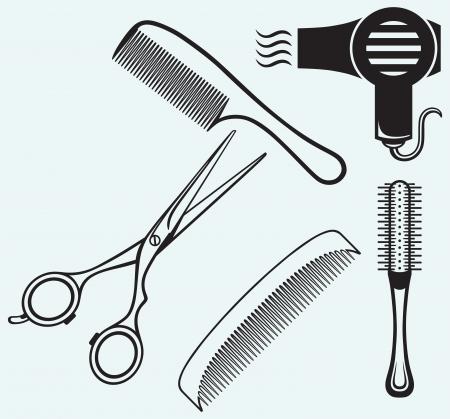 peineta: Tijeras y peine para el pelo aislado en el fondo azul