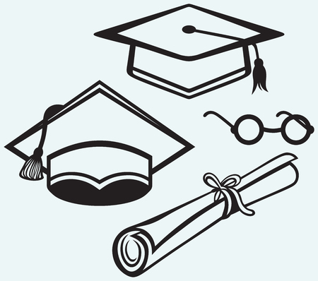 graduacion caricatura: Accesorios Estudiantes Casquillo de la graduación, los puntos y diploma aislados sobre fondo azul