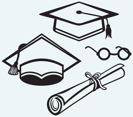 accessoires d'étudiants de graduation cap, points et diplôme isolées sur fond bleu Vecteurs