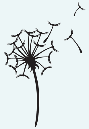 Dandelion on a wind isolated on blue background Vector