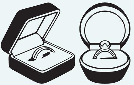 bague de fiancaille: Bague de fian�ailles dans la case isol�e sur fond bleu Illustration