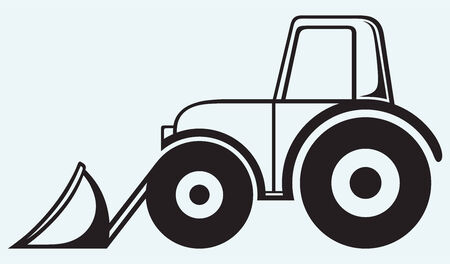 Agricultural machinery  Tractor isolated on blue background Vector