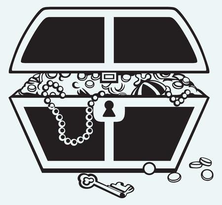 cofre tesoro: Bisuter�a y una caja aislada sobre fondo azul
