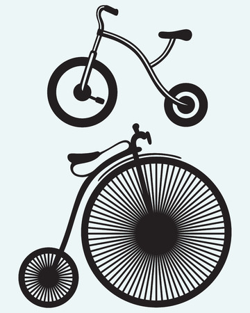 Old bicycle isolated on blue background Vector