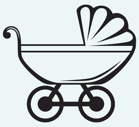 Pram  Baby carriage isolated on blue background Vector