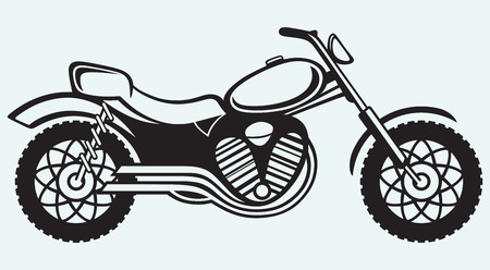 exhaust pipe: Classic motorcycle isolated on blue background Illustration