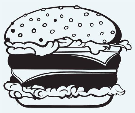 cheeseburger: Big and tasty hamburger isolated on blue background Illustration