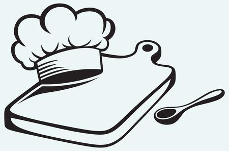 Kochen Schneidebrett, Kochmütze und Löffel auf blauem Hintergrund isoliert Standard-Bild - 25943936