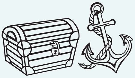 Chest and anchor isolated on blue background Vector