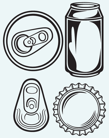 canned drink: Bottle cap beer isolated on blue batskground Illustration