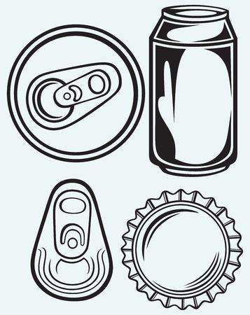 cola canette: Bouchon de la bouteille de bière isolé sur batskground bleu