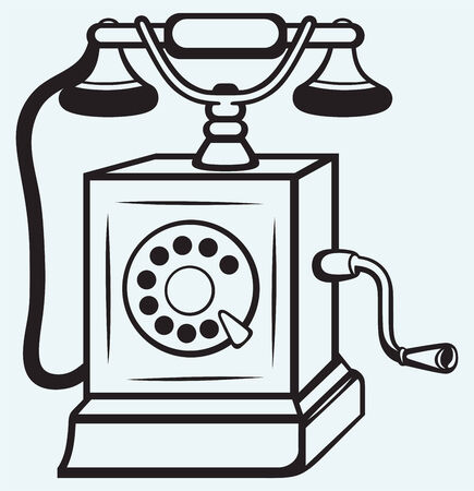 Vintage old telephone isolated on blue batskground Vector