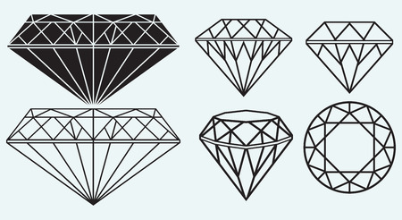 Set of diamond design elements isolated on blue background Vector