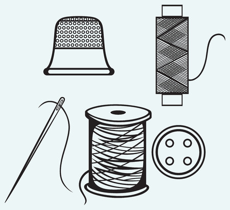 yarns: Spool with threads, sewing button and thimble isolated on blue background Illustration