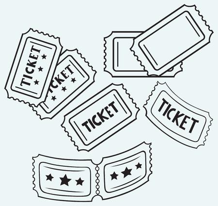 ticket stubs: Cinema ticket isolated on blue background Illustration