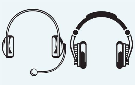 auriculares dj: Icono de los auriculares aislados en el fondo azul Vectores