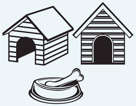 Dog bowl with bone  Dog house isolated on blue background Vector