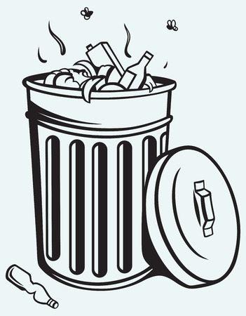 Trash bin full of garbage isolated on blue background