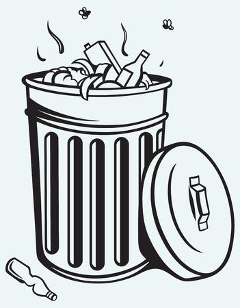 Vuilnisbak vol vuilnis geïsoleerd op blauwe achtergrond Stockfoto - 25943971