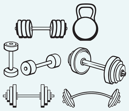 Dumbbells icons isolated on blue background Vector
