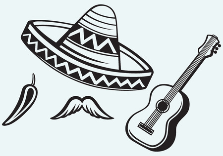 Mexican symbols isolated on blue background