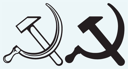 Hammer and sickle isolated on blue background Vector