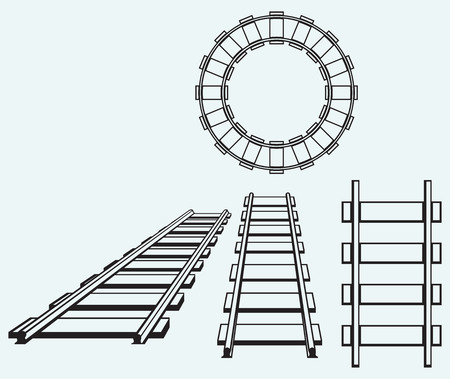 eisenbahn: Set Eisenbahn isoliert auf blauem Hintergrund Illustration