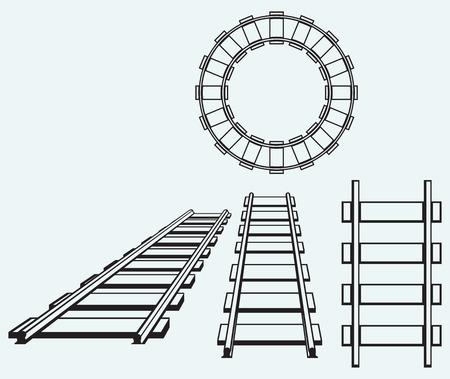Stel spoorweg geïsoleerd op blauwe achtergrond Stock Illustratie
