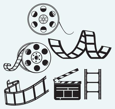 Movie icons isolated on blue background