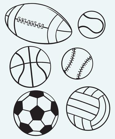 pelota rugby: Bolas de los deportes Colección aislados sobre fondo azul