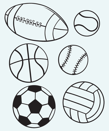 Collection sports balls isolated on blue background
