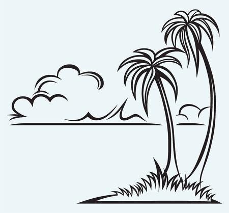 island isolated: Island palm isolated on blue background