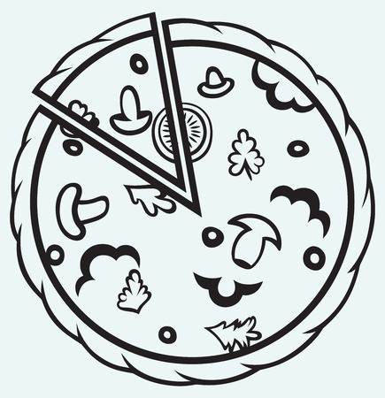 simple meal: Pizza  Top view isolated on blue background