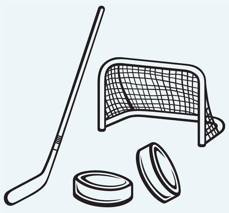 Hockey icon isolated on blue background Vector