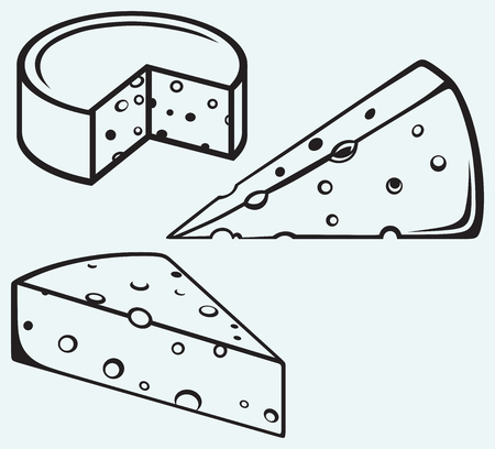 swiss cheese: Piece of cheese isolated on blue background Illustration